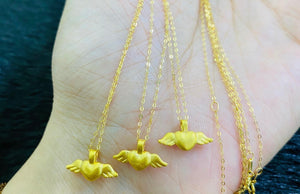 Heart Wings Necklace, 24K Gold Pendant with 18K Gold Chain