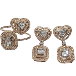 1.21ctw Heart-Emerald Illusion Diamond Jewelry Set 14K Rose Gold