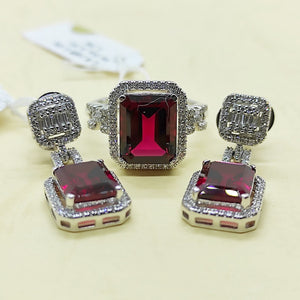 8.2ctw Ruby Diamond Halo Dangling Earrings Jewelry Set 14K White Gold