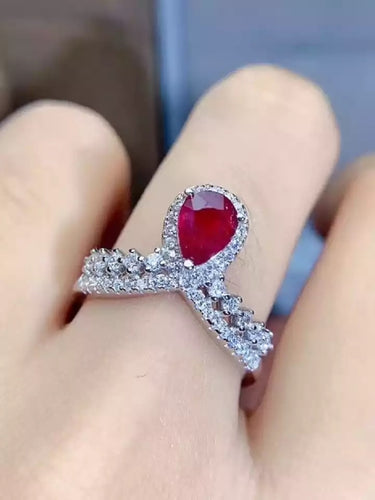 Pear Shaped Ruby Crown Ring in 925 Silver White Gold Plating, Adjustable, PRE-ORDER