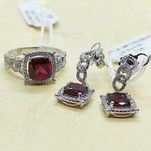3.4ctw Cushion Cut Ruby Diamond Halo Dangling Braid Earrings Jewelry Set 14K White Gold