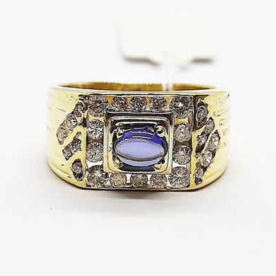 .85ct Birthstone .90ct Diamond Men's Ring 14K Gold