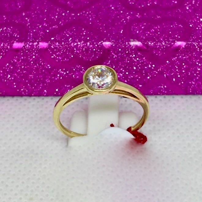 ROMEE 18K Gold Solitaire Engagement Ring, Bezel Setting - ZNZ Jewelry Philippines