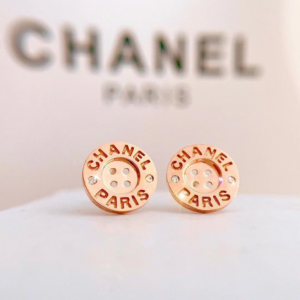 Button Earrings 18K Gold