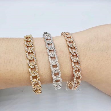1ct Diamond Studded Link Bangle in 14K Gold