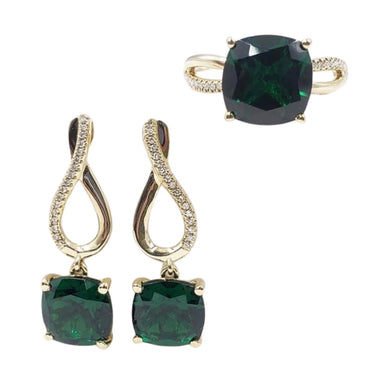 Emerald with Diamond Infinity Dangling Earrings & Ring Jewelry Set 14K Gold
