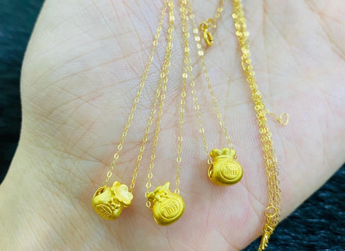 Money Bag Necklace , 24K Gold Pendant with 18K Gold Chain