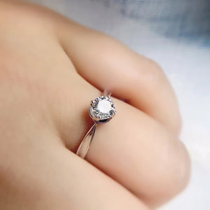 .50ct Moissanite Engagement Ring with 4 Wave Prongs / Promise Ring / Women's Ring - Pre Order