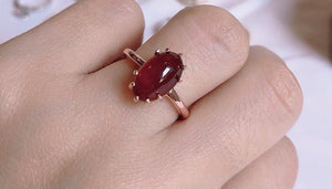 TAYLOR Oval Cabochon Red Garnet Ring in 14K Rosegold Vermeil, Made-to-Order - ZNZ Jewelry Philippines