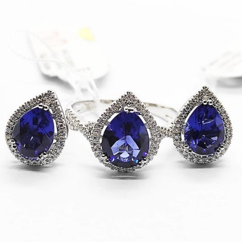 Pear-Shaped Blue Sapphire Diamond Halo Jewelry Set 14K White Gold
