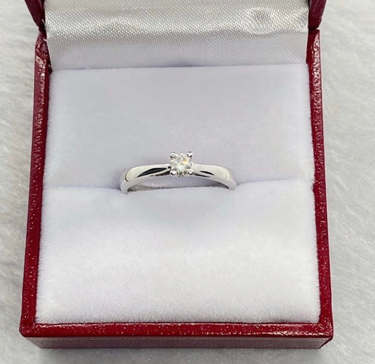.15ct Princess Cut Solitaire Diamond Engagement Ring in 18K White Gold - ZNZ Jewelry Philippines