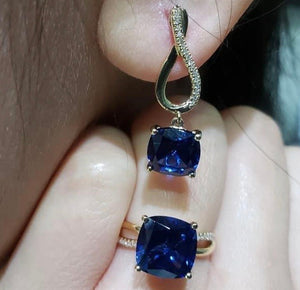 Blue Sapphire with Diamond Infinity Dangling Earrings & Ring Jewelry Set 14K Yellow Gold