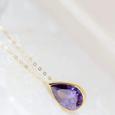 Amethyst Pear Necklace 14K Gold / Choose Your Birthstone
