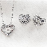 .06ct Diamond Heart Shaped Jewelry Set 14K Gold