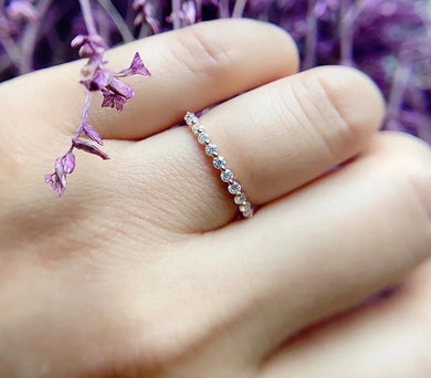 Half Eternity Ring with Single Prong - Wedding Ring, Birthday Gift, Stacking Ring, Bridal Ring