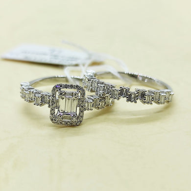 .49ctw Diamond Engagement Ring and Jigsaw Half Eternity Bridal Wedding Ring Set 14K White Gold
