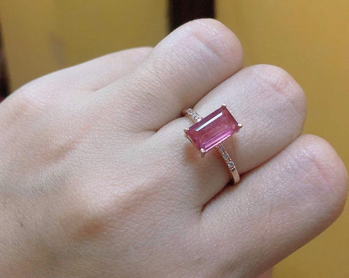 ADALYNNE Pink Tourmaline Rosegold Engagement Ring in 14K Gold and Signity Side Stones - ZNZ Jewelry Philippines
