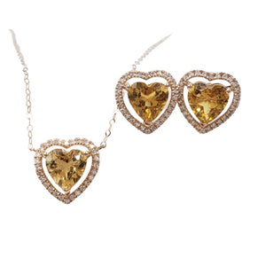 Citrine Heart Diamond Halo Jewelry Set in 18K Gold