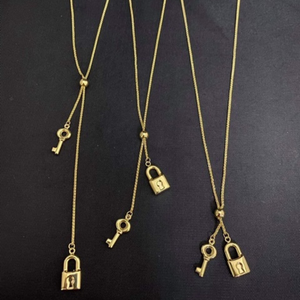 Adjustable Drop Lock & Key Necklace 18K Gold