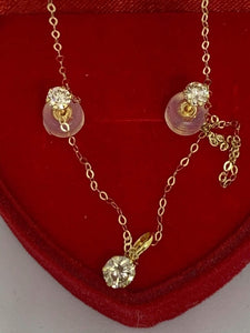 Diamond Stud Earrings and Necklace Jewelry Set 14K Yellow Gold