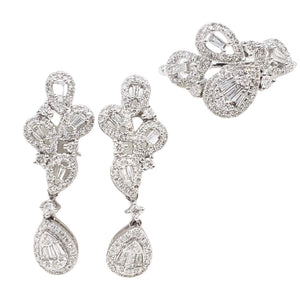 1ctw Cluster Pear Drop Diamond Jewelry Set 14K White Gold