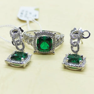3.4ctw Cushion Cut Green Emerald Diamond Halo Dangling Braid Earrings Jewelry Set 14K White Gold