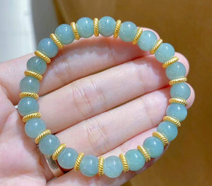 Jade Bracelet with 24K Gold Spacers
