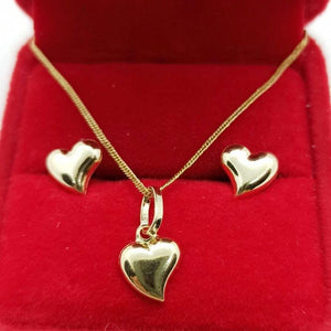 Heart Earrings & Heart Necklace Jewelry Set in 18K Gold