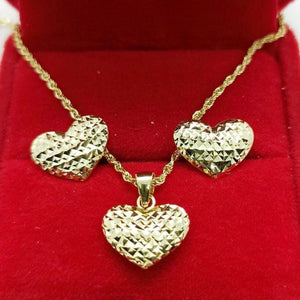 Heart Earrings & Heart Rope Necklace Jewelry Set in 18K Gold