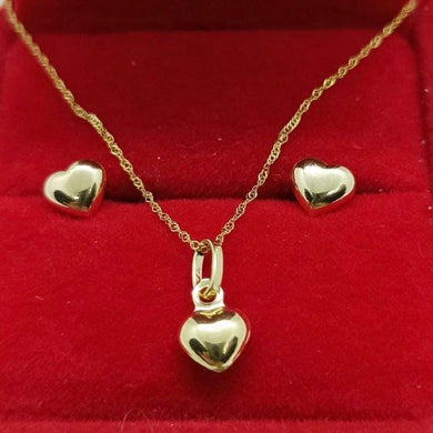 Dainty Heart Earrings & Heart Necklace Jewelry Set in 18K Gold
