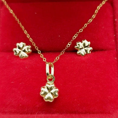 Clover Earrings & Clover Necklace Jewelry Set in 18K Gold