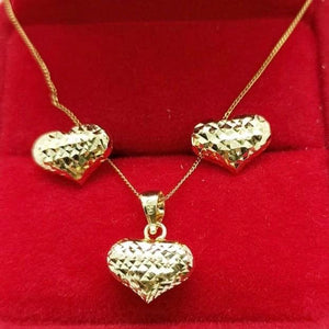 Puffed Heart Earrings & Heart Necklace Jewelry Set in 18K Gold