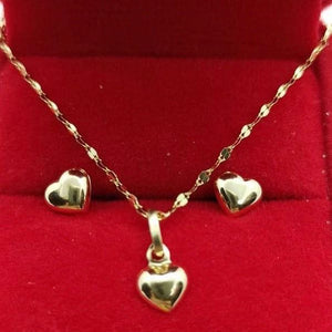 Dainty Heart Earrings & Heart Dancing Necklace Jewelry Set in 18K Gold