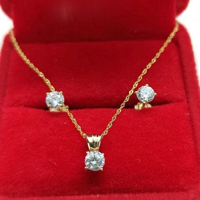 Crystal Stud Earrings & Stud Necklace Jewelry Set in 18K Gold
