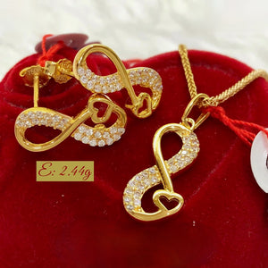 Infinity-Heart Earrings & Necklace Jewelry Set in 18K Gold