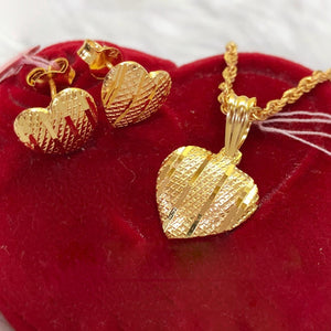 Heart Earrings & Necklace Jewelry Set in 21K Gold