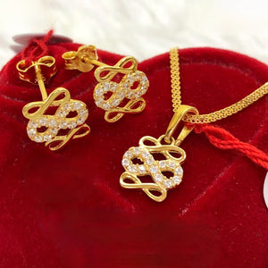 Triple Infinity Earrings & Necklace Jewelry Set in 18K Gold
