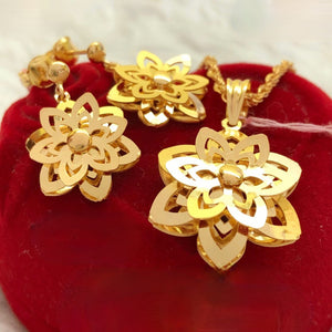 Dahlia Dangling Earrings & Necklace Jewelry Set in 21K Gold