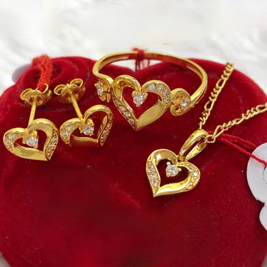 Heart Crystal Earrings, Ring & Necklace Jewelry Set in 18K Gold