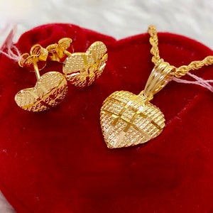 Grid Heart Earrings & Necklace Jewelry Set in 21K Gold