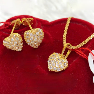 Studded Heart Earrings & Necklace Jewelry Set in 18K Gold