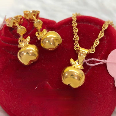Apple Earrings & Necklace Jewelry Set in 21K Gold