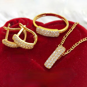 Triple Layer Studded Earrings, Ring & Necklace Jewelry Set in 18K Gold
