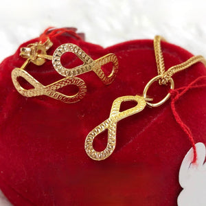 Infinity Earrings & Necklace Jewelry Set in 18K Gold