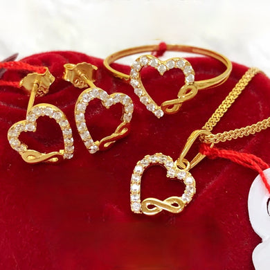 Heart Infinity Earrings, Ring & Necklace Jewelry Set in 18K Gold