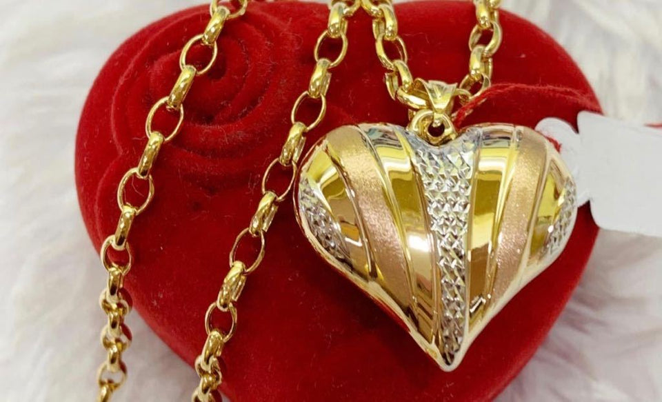 18K Gold Heart Women's Necklace jn10tt24 - ZNZ Jewelry Philippines