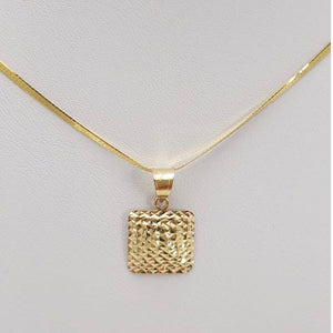 18K Gold Square Women's Necklace jn10tt6 - ZNZ Jewelry Philippines
