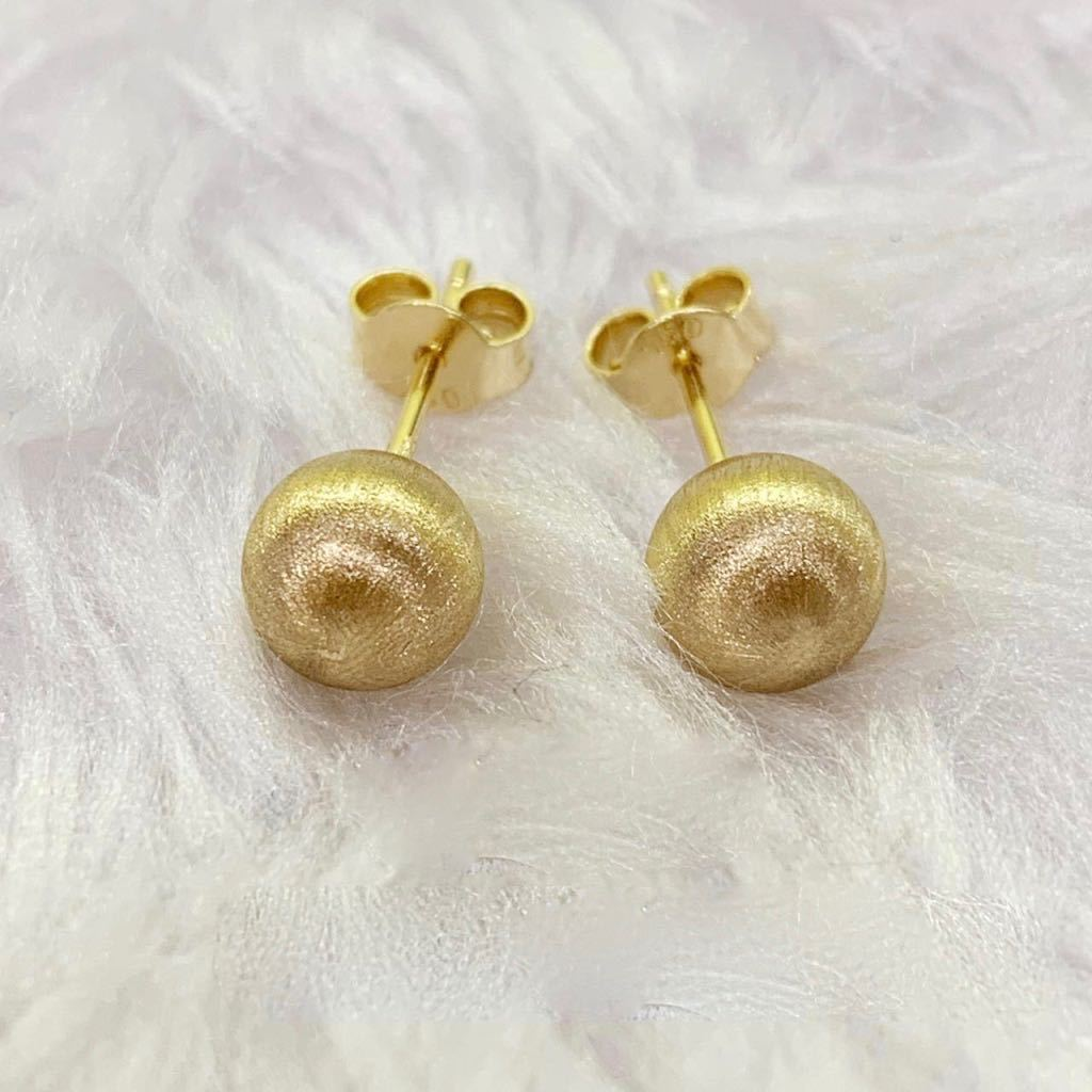 Brushed Ball Earrings 18K Gold 11jn14 - ZNZ Jewelry Philippines