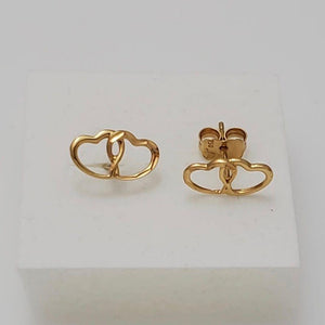 Twin Hearts Stud Earrings 18K Gold 11jn30 - ZNZ Jewelry Philippines