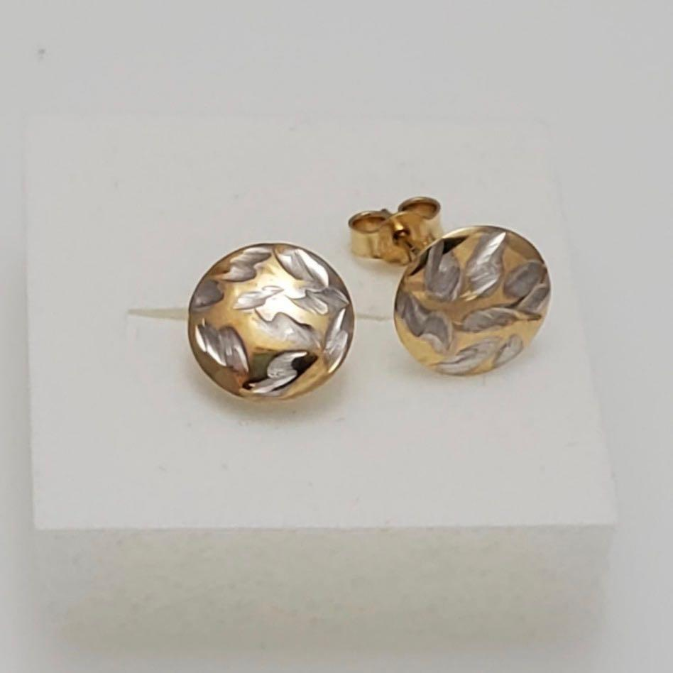 Round Stud Earrings 18K Gold 11jn53 - ZNZ Jewelry Philippines